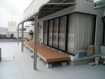 広島県東区 Uビル デッキ・テラス施工例2
