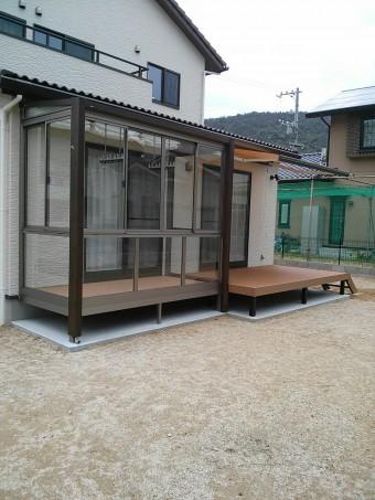 安浦町 Y様邸 サンルーム・デッキ・オーニング 施工例2